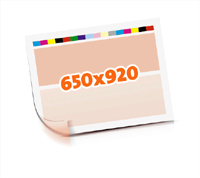 Druckformen drucken   1-6 färbige Selbstumstülper nutzenmontierter Standbogen Bogenformat 650x920mm beidseitig bedruckte Plano-Druckbogen 1 Garnitur Druckplatten - Papier vertikal bzw. zur Vordermarke wenden