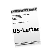 US-Letter (216x279mm) Personalisierung, CMYK der Euroskala  1-6 färbige Briefpapiere Euroskala, HKS-Sonderfarben oder Pantone-Sonderfarben einseitig bedruckte Briefpapiere einseitig personalisiert