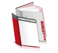 Bücher drucken Leinen Buchüberzug bedruckter Vorsatz & Nachsatz gerader Buchrücken Fadenheftung Buchdruck im Hochformat