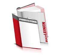 Bücher drucken Leinen Buchüberzug bedruckter Vorsatz & Nachsatz runder Buchrücken Fadenheftung Buchdruck im Hochformat