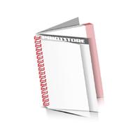 Digitaldruck Prospekte drucken  1 PVC Front- oder Endblatt Deck-Blatt  2 Seiten Schluss-Blatt  2 Seiten Digitaldruck Prospekte mit Drahtkammbindung Drahtkamm links Hochformat