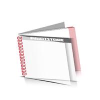 Digitaldruck Prospekte drucken  1 PVC Front- oder Endblatt Deck-Blatt  2 Seiten Schluss-Blatt  2 Seiten Digitaldruck Prospekte mit Drahtkammbindung Drahtkamm links Querformat