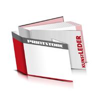 Bücher drucken Kunstleder Buchüberzug bedruckter Vorsatz & Nachsatz gerader Buchrücken Fadenheftung Buchdruck im Querformat