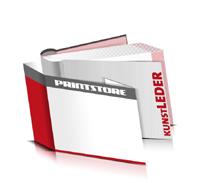 Bücher drucken Kunstleder Buchüberzug bedruckter Vorsatz & Nachsatz runder Buchrücken Fadenheftung Buchdruck im Querformat