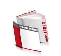 Bücher drucken Kunstleder Buchüberzug bedruckter Vorsatz & Nachsatz gerader Buchrücken Fadenheftung Buchdruck im Quadratformat