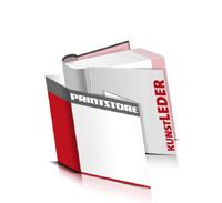 Bücher drucken Kunstleder Buchüberzug bedruckter Vorsatz & Nachsatz runder Buchrücken Fadenheftung Buchdruck im Quadratformat