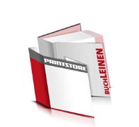 Bücher drucken Leinen Buchüberzug bedruckter Vorsatz & Nachsatz gerader Buchrücken Fadenheftung Buchdruck im Quadratformat
