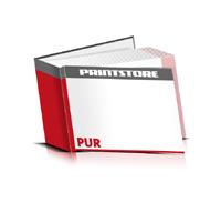 Bücher drucken Papier Buchüberzug gerader Buchrücken PUR-Klebebindung Buchdruck im Querformat