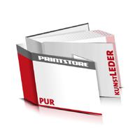 Bücher drucken Kunstleder Buchüberzug gerader Buchrücken PUR-Klebebindung Buchdruck im Querformat