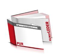 Bücher drucken Kunstleder Buchüberzug bedruckter Vorsatz & Nachsatz gerader Buchrücken PUR-Klebebindung Buchdruck im Querformat