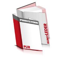 Bücher drucken Kunstleder Buchüberzug bedruckter Vorsatz & Nachsatz gerader Buchrücken PUR-Klebebindung Buchdruck im Hochformat