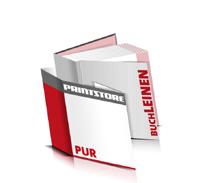 Bücher drucken Leinen Buchüberzug bedruckter Vorsatz & Nachsatz gerader Buchrücken PUR-Klebebindung Buchdruck im Quadratformat