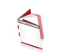 Kataloge drucken  8 Seiten Umschlag Rückenstichheftung  2 Klammern Quadratformat