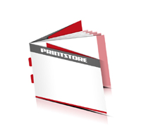 Kataloge drucken  8 Seiten Umschlag Rückenstichheftung  2 Klammern Querformat