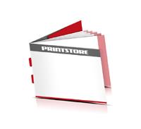 Kataloge drucken  6 Seiten Umschlag Rückenstichheftung  2 Klammern Querformat