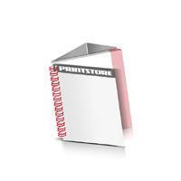 Prospekte drucken Deck-Blatt  2 Seiten Schluss-Blatt  4 Seiten Prospekte mit Drahtkammbindung Drahtkamm links Quadratformat