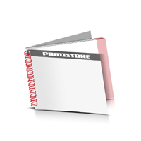 Prospekte drucken Deck-Blatt  2 Seiten Schluss-Blatt  2 Seiten Prospekte mit Drahtkammbindung Drahtkamm links Querformat