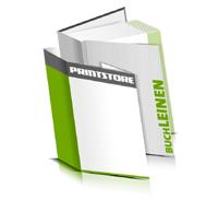 Hardcover Bücher bedrucken Leinen Buchüberzug gerader Buchrücken Fadenheftung Buchdruck im Hochformat