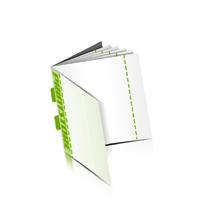 Perforierte Couponhefte bedrucken  4 Seiten Umschlag  1 Perforationslinie Rückendrahtheftung