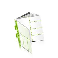 Perforierte Couponhefte bedrucken  4 Seiten Umschlag  4 Perforationslinien Rückendrahtheftung