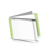 Digitaldruck Prospekte bedrucken  1 PVC Titel- oder Endblatt Deck-Blatt  2 Seiten Schluss-Blatt  2 Seiten Digitaldruck Prospekte mit Wire-O Bindung Draht-Kamm links Querformat