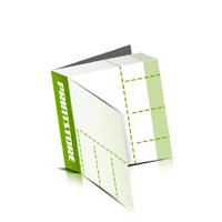 Perforierte Couponhefte bedrucken  4 Seiten Umschlag  4 Perforationslinien Heißleim-Klebebindung