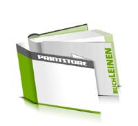 Hardcover Bücher bedrucken Leinen Buchüberzug bedruckter Vorsatz & Nachsatz runder Buchrücken Fadenheftung Buchdruck im Querformat