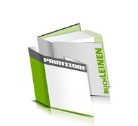 Hardcover Bücher bedrucken Leinen Buchüberzug bedruckter Vorsatz & Nachsatz gerader Buchrücken Fadenheftung Buchdruck im Quadratformat