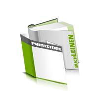 Hardcover Bücher bedrucken Leinen Buchüberzug bedruckter Vorsatz & Nachsatz runder Buchrücken Fadenheftung Buchdruck im Quadratformat