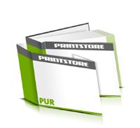 Hardcover Bücher bedrucken Schutzumschlag Papier Buchüberzug gerader Buchrücken PUR-Klebebindung Buchdruck im Querformat
