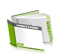 Hardcover Bücher bedrucken Leinen Buchüberzug bedruckter Vorsatz & Nachsatz gerader Buchrücken PUR-Klebebindung Buchdruck im Querformat