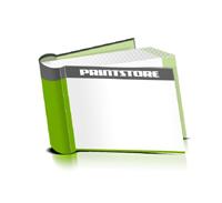 Hardcover Bücher bedrucken Papier Buchüberzug bedruckter Vorsatz & Nachsatz runder Buchrücken Fadenheftung Buchdruck im Querformat