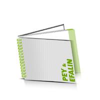 Hardcover Broschüren bedrucken Efalin oder Pey Buchüberzug Wire-O Bindung Querformat