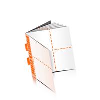 Perforierte Gutscheinhefte drucken  4 Seiten Umschlag  2 Perforationslinien Rückendrahtheftung