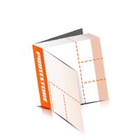 Perforierte Gutscheinhefte drucken  4 Seiten Umschlag  3 Perforationslinien Heißleim-Klebebindung