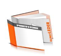 Hardcover Bücher drucken Kunstleder Deckeleinband bedruckter Vorsatz & Nachsatz gerader Buchrücken Fadenheftung Buchdruck im Querformat