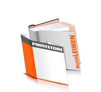 Hardcover Bücher drucken Leinen Deckeleinband bedruckter Vorsatz & Nachsatz runder Buchrücken Fadenheftung Buchdruck im Quadratformat