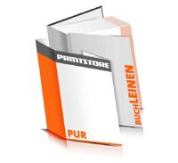Hardcover Bücher drucken Leinen Deckeleinband gerader Buchrücken PUR-Klebebindung Buchdruck im Hochformat