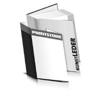 Hardcover Bücher bedrucken Kunstleder Buchüberzug gerader Buchrücken Fadenheftung Buchdruck im Hochformat