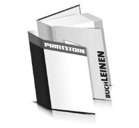 Hardcover Bücher drucken Leinen Deckeleinband gerader Buchrücken Fadenheftung Buchdruck im Hochformat