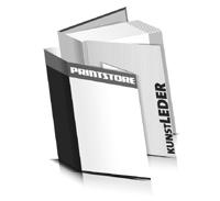 Hardcover Bücher bedrucken Kunstleder Buchüberzug bedruckter Vorsatz & Nachsatz gerader Buchrücken Fadenheftung Buchdruck im Hochformat