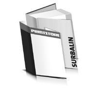 Bücher drucken Surbalin Buchüberzug bedruckter Vorsatz & Nachsatz gerader Buchrücken Fadenheftung Buchdruck im Hochformat