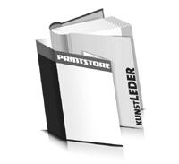 Hardcover Bücher bedrucken Kunstleder Buchüberzug bedruckter Vorsatz & Nachsatz runder Buchrücken Fadenheftung Buchdruck im Hochformat