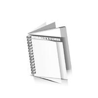 Digitaldruck Prospekte drucken  1 PVC Frontblatt und  1 PVC Endblatt Deck-Blatt  2 Seiten Schluss-Blatt  2 Seiten Digitaldruck Prospekte mit Drahtkammbindung Drahtkamm links Quadratformat