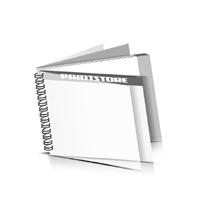 Digitaldruck Prospekte drucken  1 PVC Frontblatt und  1 PVC Endblatt Deck-Blatt  2 Seiten Schluss-Blatt  2 Seiten Digitaldruck Prospekte mit Drahtkammbindung Drahtkamm links Querformat