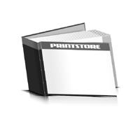 Bücher drucken Papier Buchüberzug bedruckter Vorsatz & Nachsatz gerader Buchrücken Fadenheftung Buchdruck im Querformat