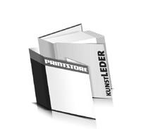 Hardcover Bücher bedrucken Kunstleder Buchüberzug gerader Buchrücken Fadenheftung Buchdruck im Quadratformat
