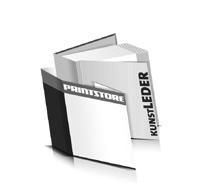 Hardcover Bücher bedrucken Kunstleder Buchüberzug bedruckter Vorsatz & Nachsatz gerader Buchrücken Fadenheftung Buchdruck im Quadratformat