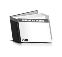 Hardcover Bücher drucken Papier Deckeleinband bedruckter Vorsatz & Nachsatz gerader Buchrücken PUR-Klebebindung Buchdruck im Querformat