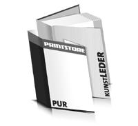 Hardcover Bücher bedrucken Kunstleder Buchüberzug bedruckter Vorsatz & Nachsatz gerader Buchrücken PUR-Klebebindung Buchdruck im Hochformat